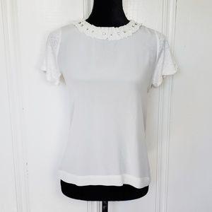 Maje White Jeweled Collar Short Sleeve Tee